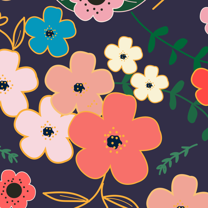 Pet Deckchair  with Asian Flowers