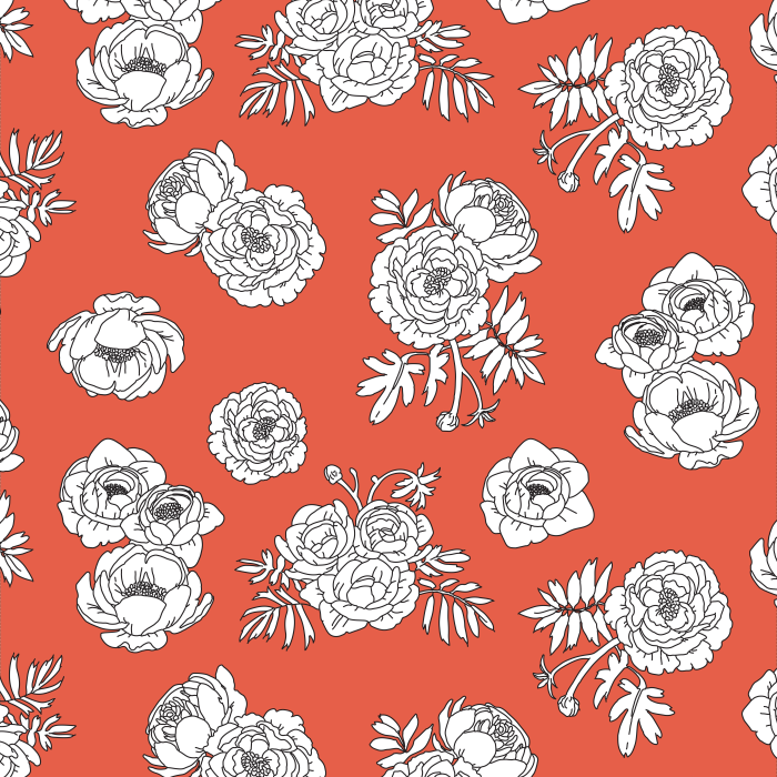 Pet Deckchair  with Monochrome Flowers - Red