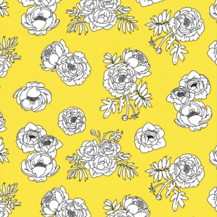 Pet Deckchair  with Monochrome Flowers - Yellow