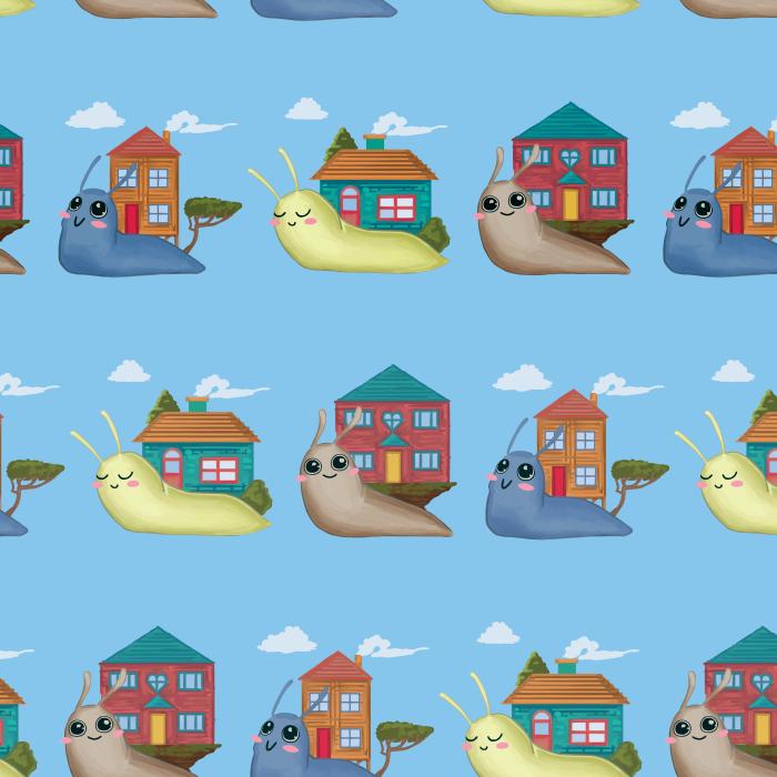Pet Deckchair  with Snails - Blue