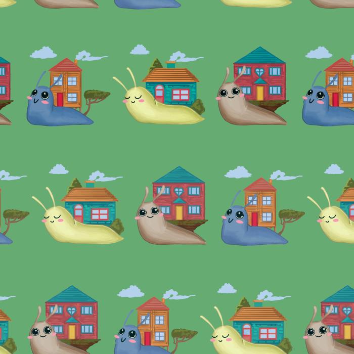 Pet Deckchair  with Snails - Green