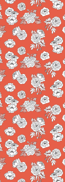 Outline illustration of flowers deck chair pattern