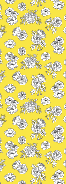Illustrated flowery yellow deck chair sling