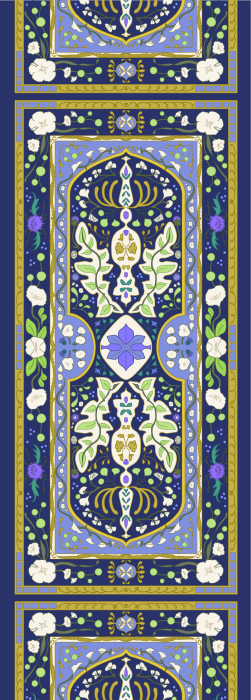 Navy, purple and gold floral pattern deck chair fabric
