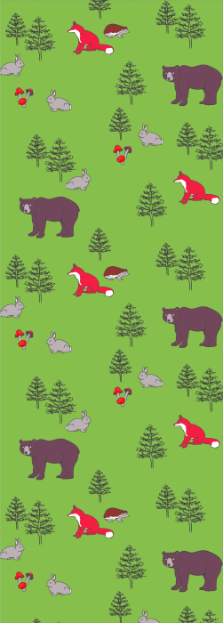 Bear rabbi fox and hedgehog with trees and mushrooms deck chair fabric
