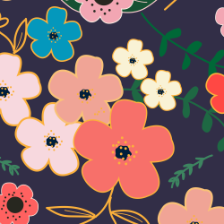 Asian Flowers print for Croyde - Classic