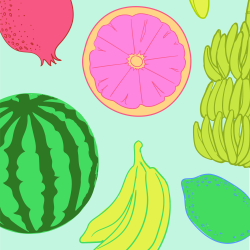 Assorted Fruit print for Bantham - Tiny