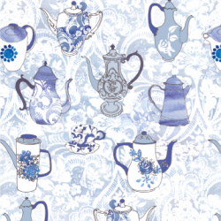 Coffee Pots - Anna Platts Collab print for Giant Deckchair