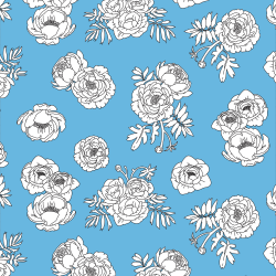 Monochrome Flowers - Blue print for Croyde - Classic