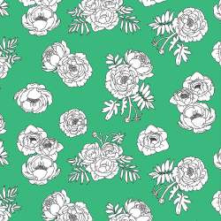 Monochrome Flowers - Green print for Croyde - Classic