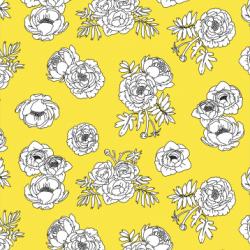 Monochrome Flowers - Yellow print for Pet Deckchair