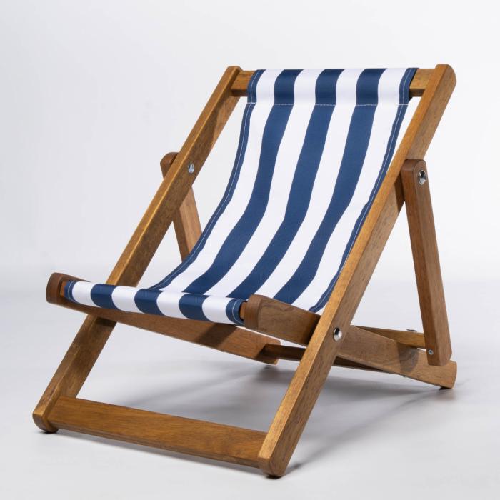Tiny Deckchair  with Dark Blue Stripes