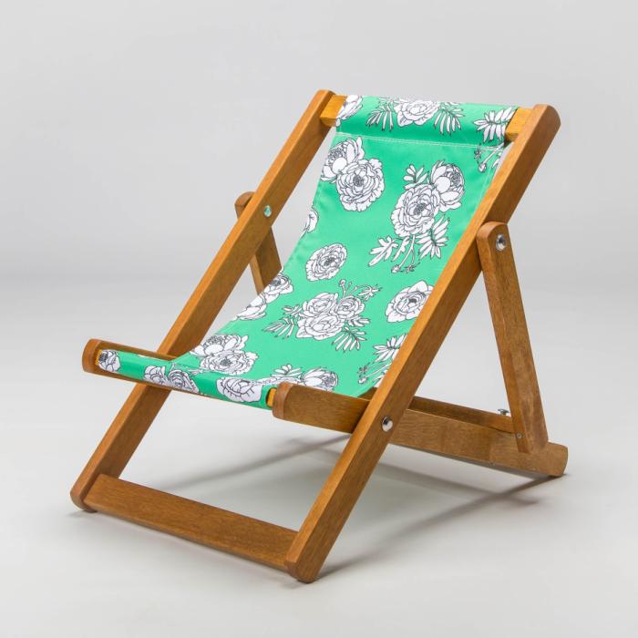 Monochrome Flowers - Green print for Bantham Deckchair