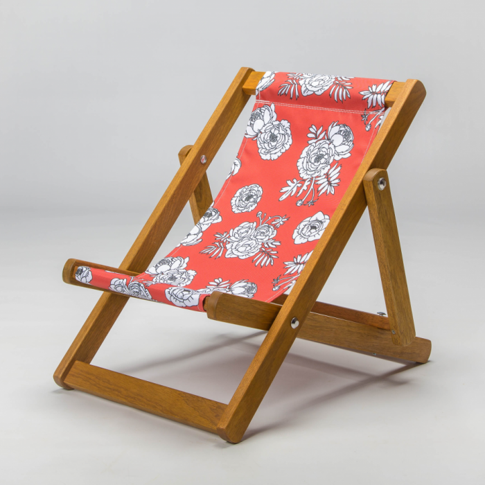Tiny Deckchair  with Monochrome Flowers - Red