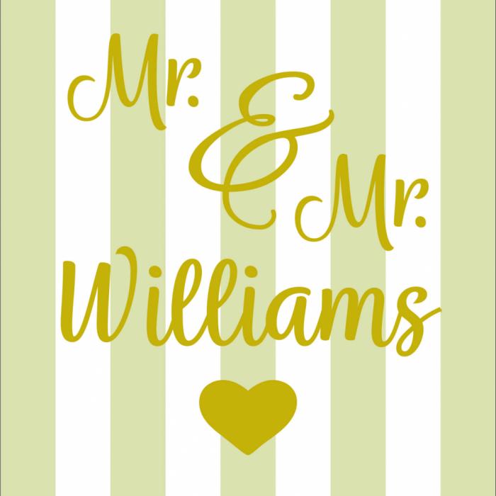 Mr & Mr Wedding - Customisable - Taupe print for Bantham Deckchair