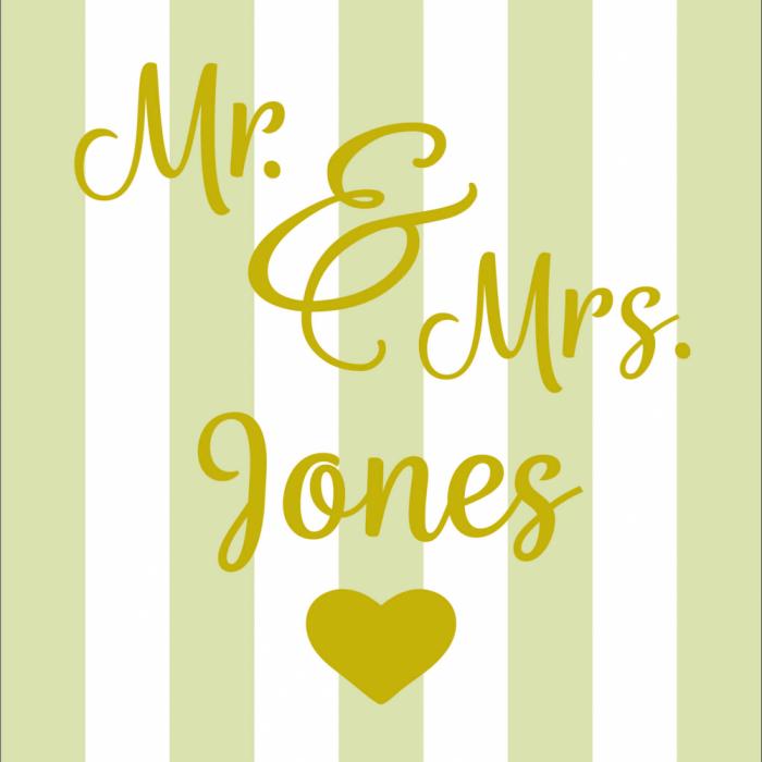 Mr & Mrs Wedding - Customisable - Taupe print for Bantham Deckchair