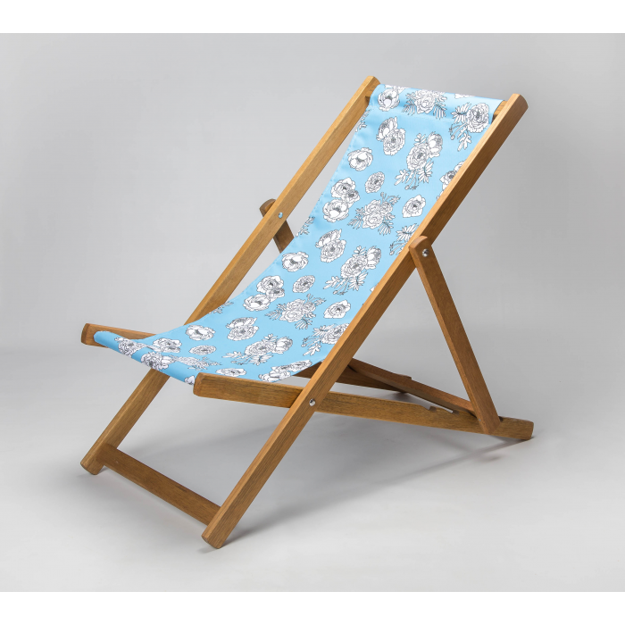 Monochrome Flowers - Blue print for Croyde Deckchair