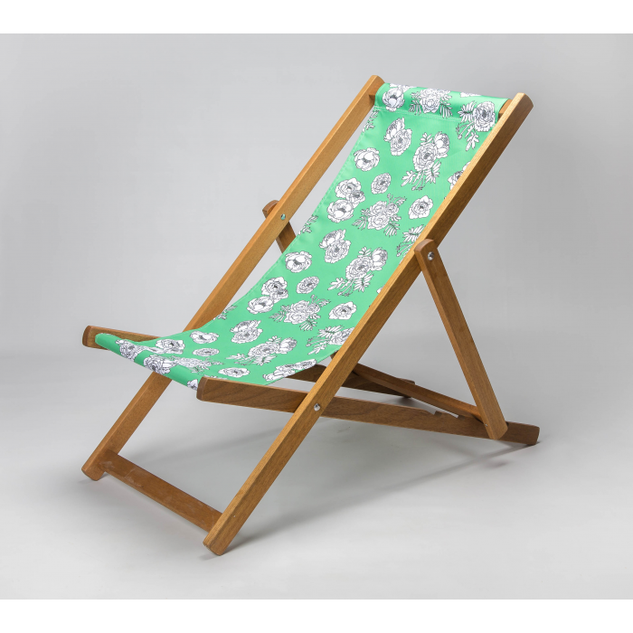 Monochrome Flowers - Green print for Croyde Deckchair