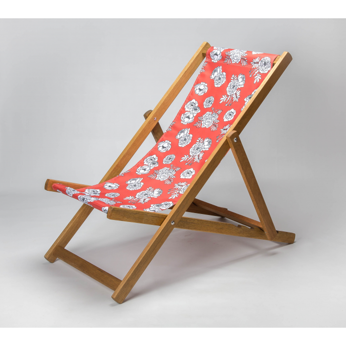 Monochrome Flowers - Red print for Croyde Deckchair