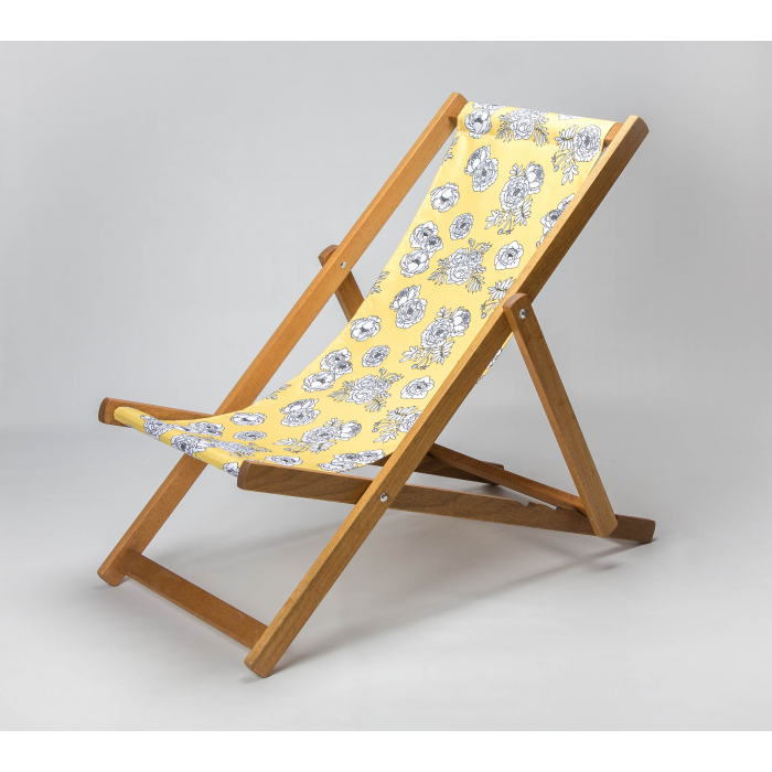 Monochrome Flowers - Yellow print for Croyde Deckchair