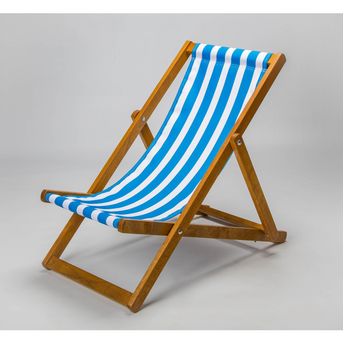 blue and white striped deckchair