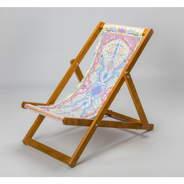Colourful tapestry deck chair