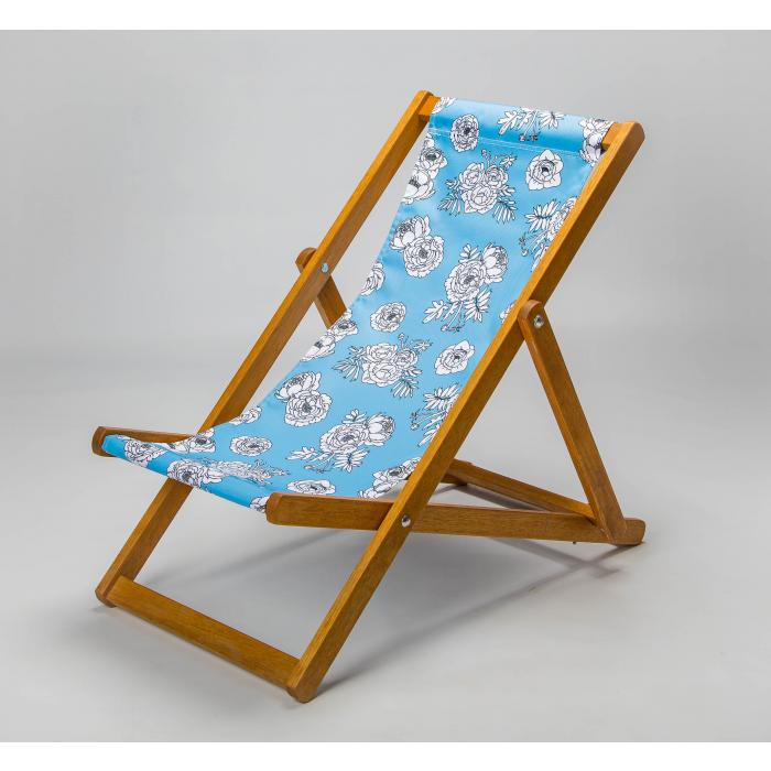blue floral deckchair