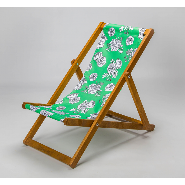 green flowers deck chair