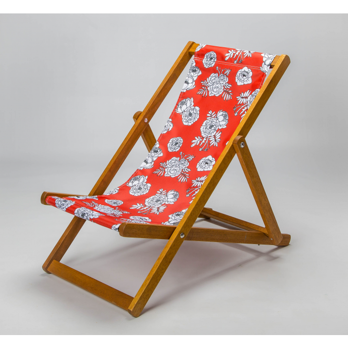 red floral deckchair