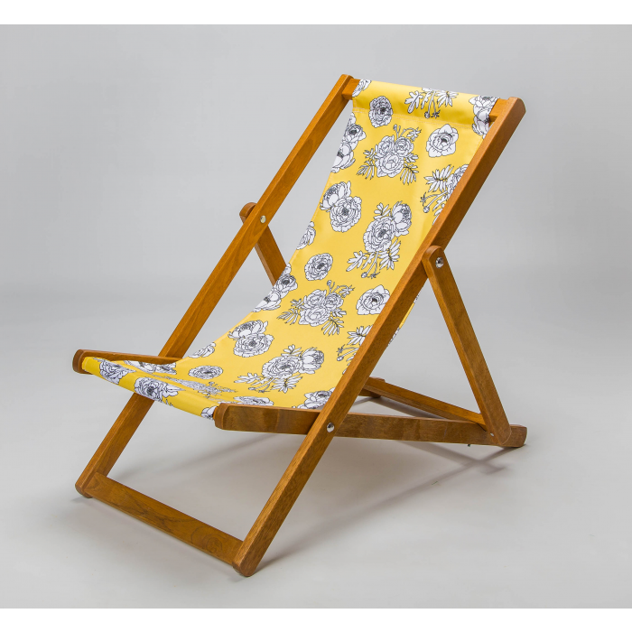sunny yellow floral deckchair