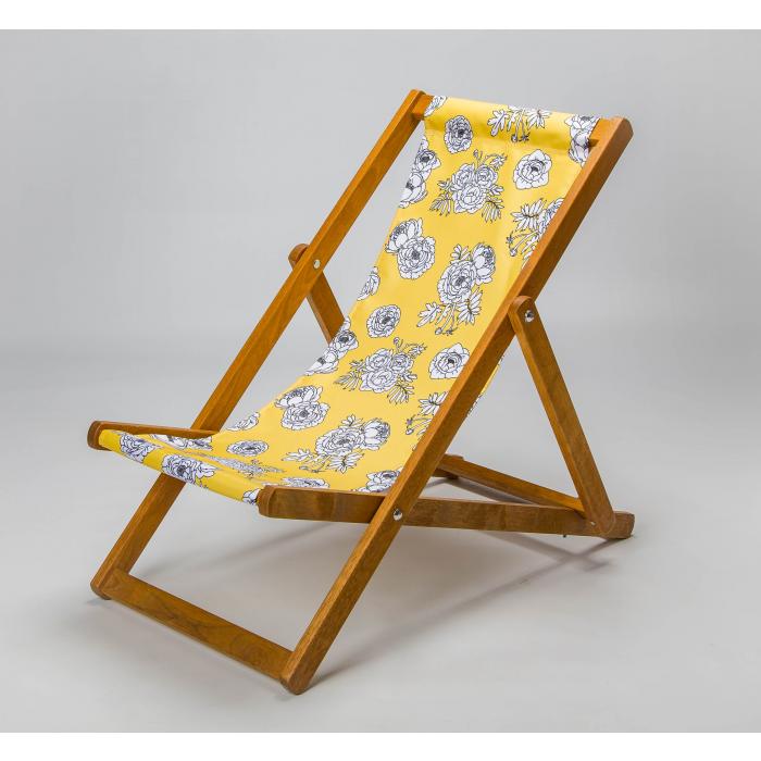 Junior Deckchair  with Monochrome Flowers - Yellow