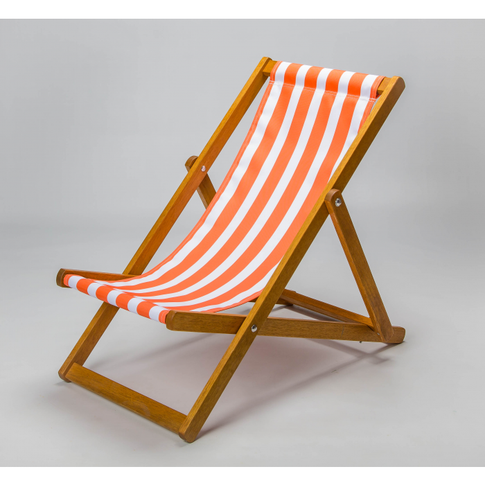 Orange and white striped deckchair