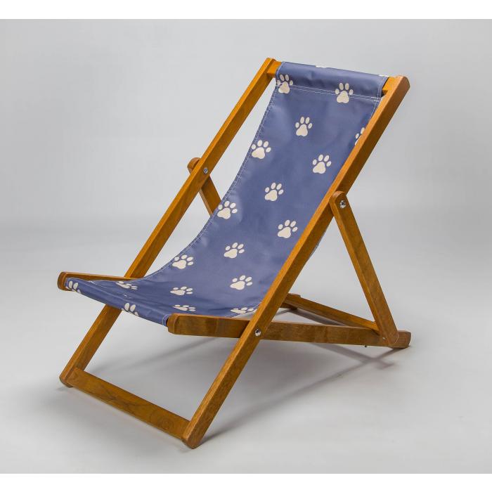 Navy paw print deckchair