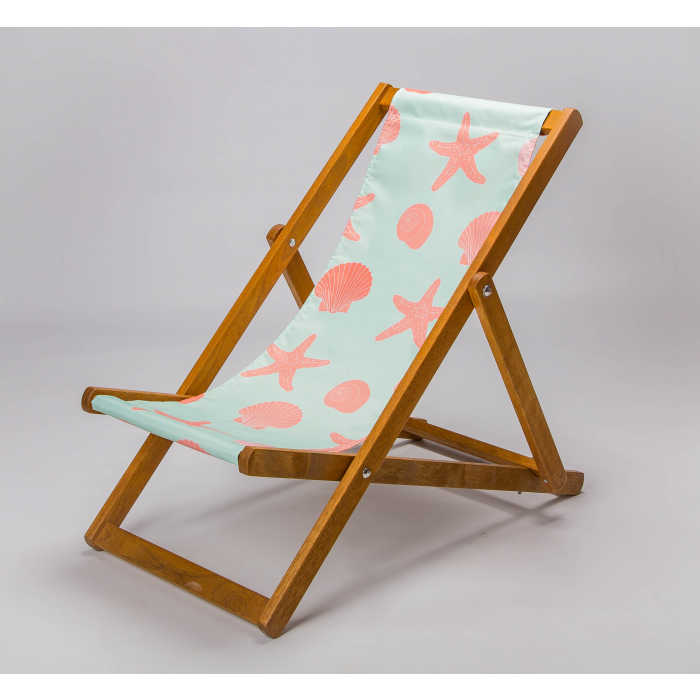 seashell and starfish print deckchair