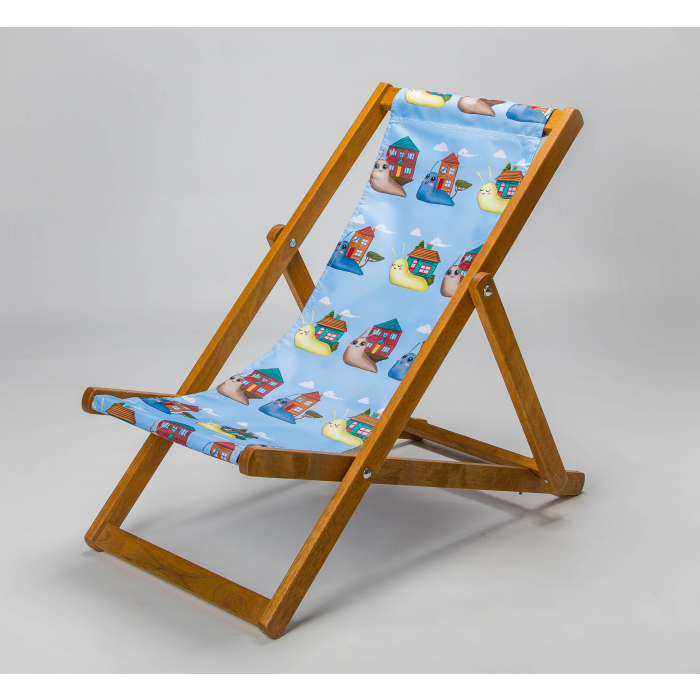 friendly snail deckchair blue