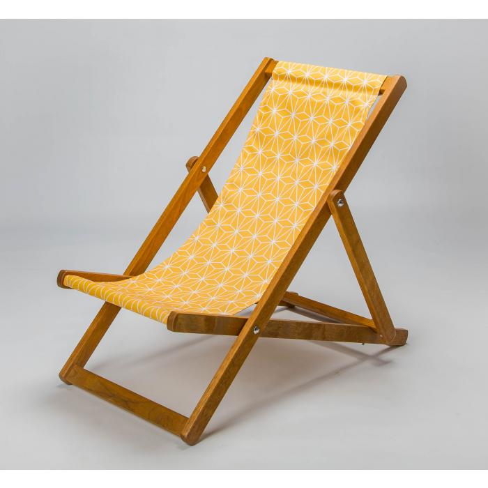 geometric mustard deckchair