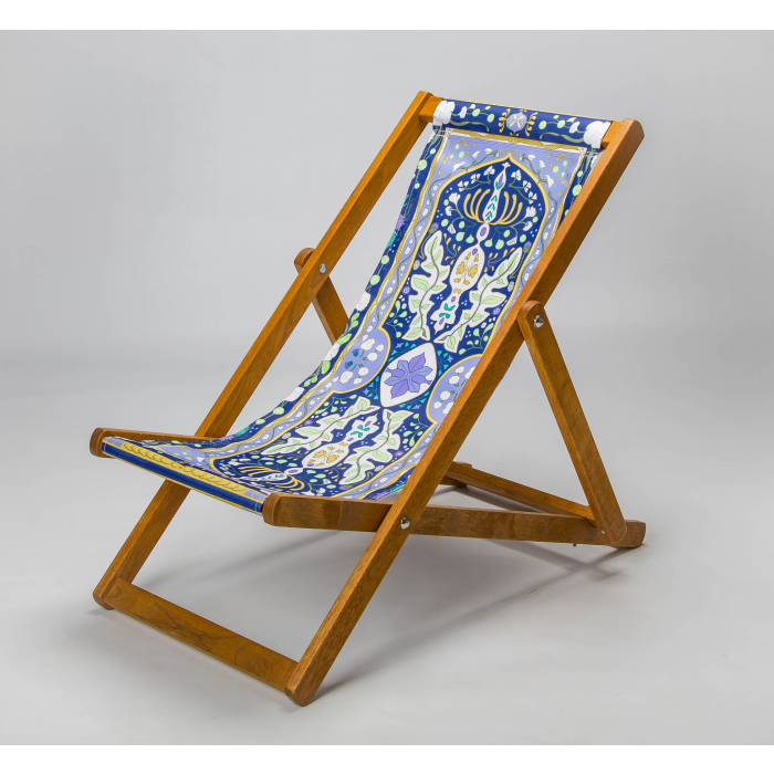 Midnight blue tapestry deckchair