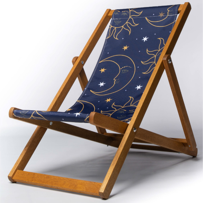 celestial moon and sun print deckchair