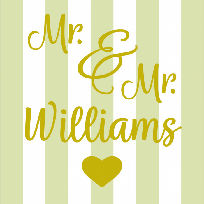Mr & Mr Wedding - Customisable - Taupe print for Elbury Deckchair