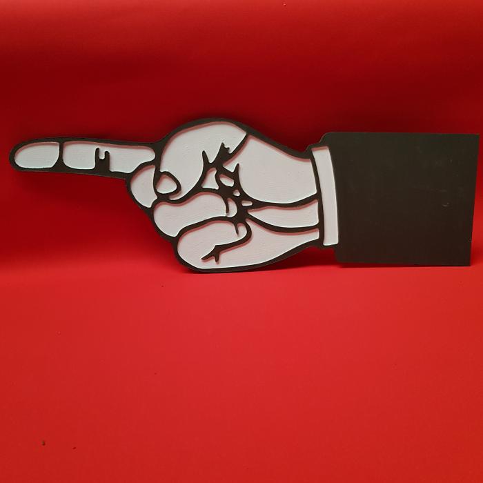 Left pointing finger sign