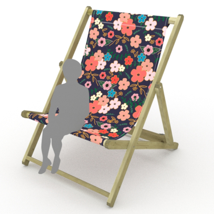 Asian Flowers print for Saunton Giant Deckchair