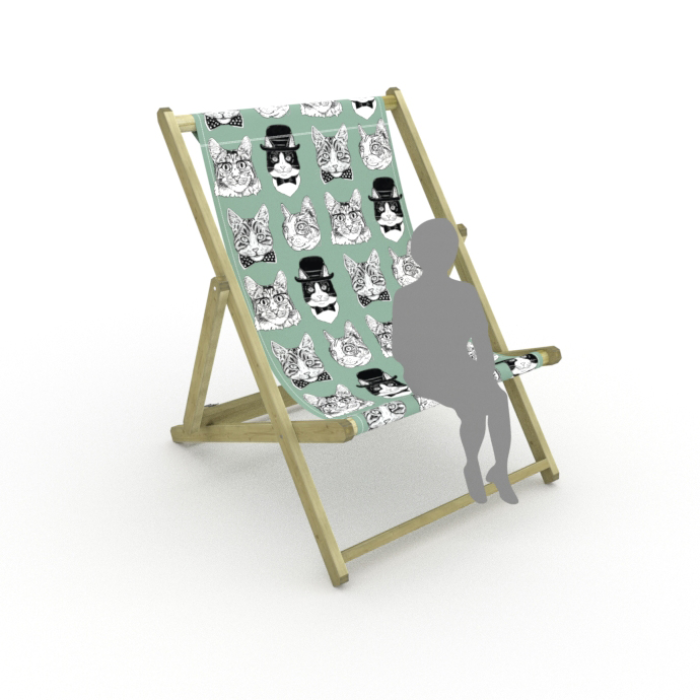 Dapper Cats print for Saunton Giant Deckchair