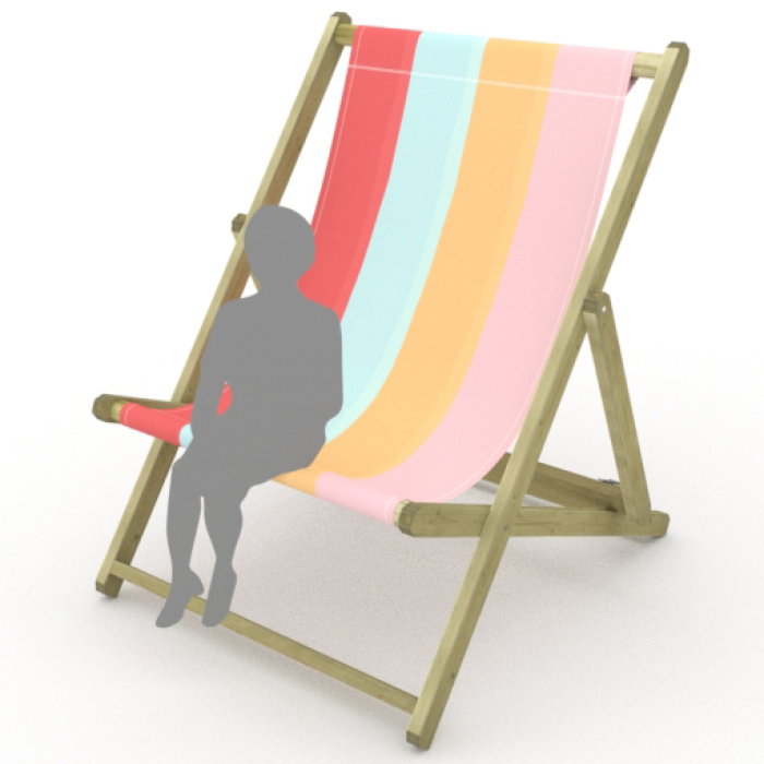 Ice Cream Stripes print for Saunton Giant Deckchair