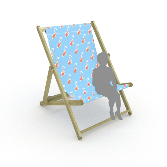 Koi - Blue print for Saunton Giant Deckchair
