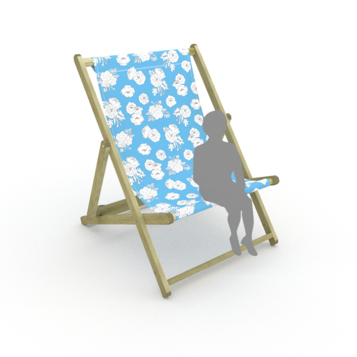 Monochrome Flowers - Blue print for Saunton Giant Deckchair