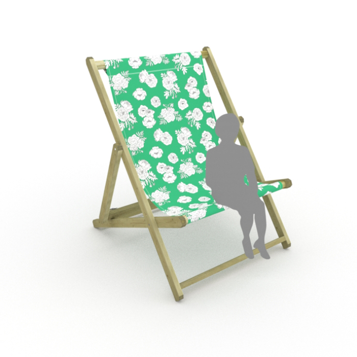 Monochrome Flowers - Green print for Saunton Giant Deckchair
