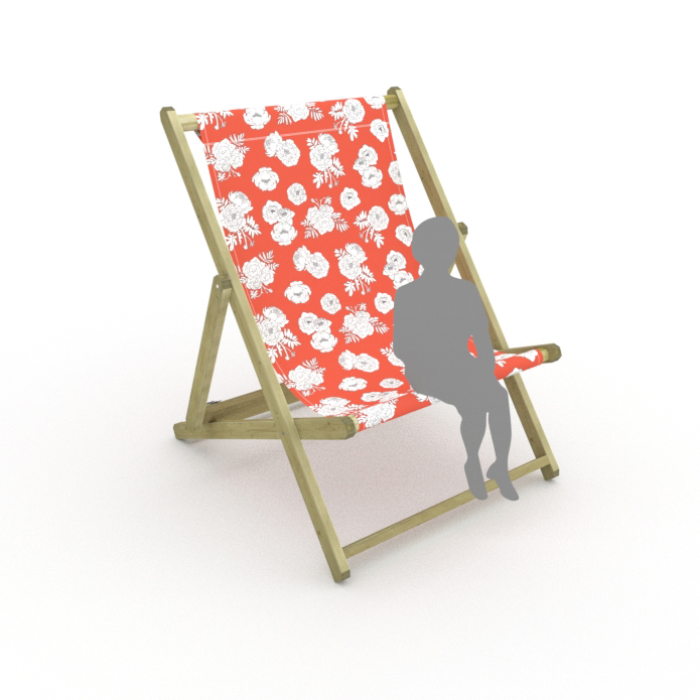Monochrome Flowers - Red print for Saunton Giant Deckchair