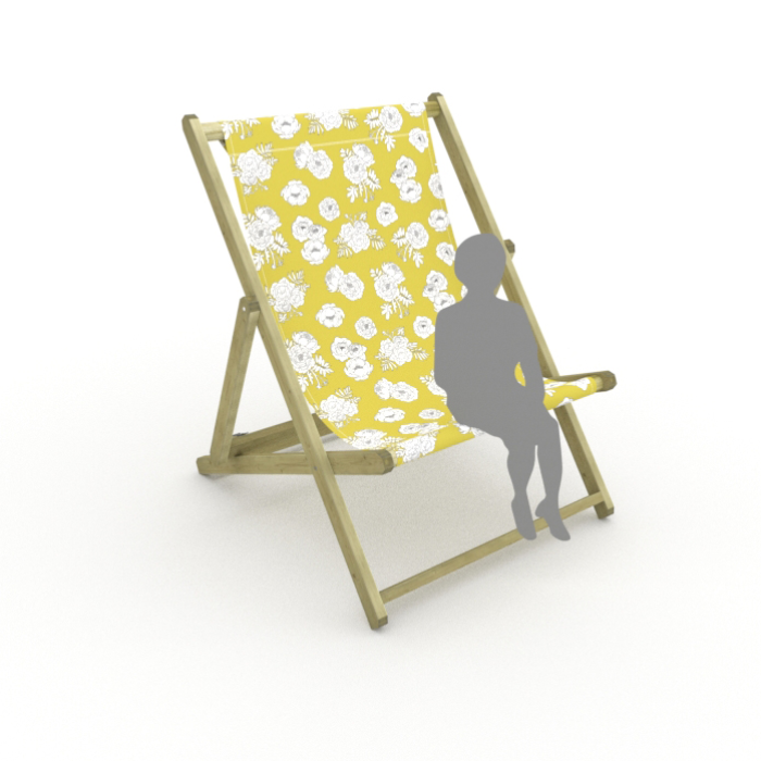 Monochrome Flowers - Yellow print for Saunton Giant Deckchair
