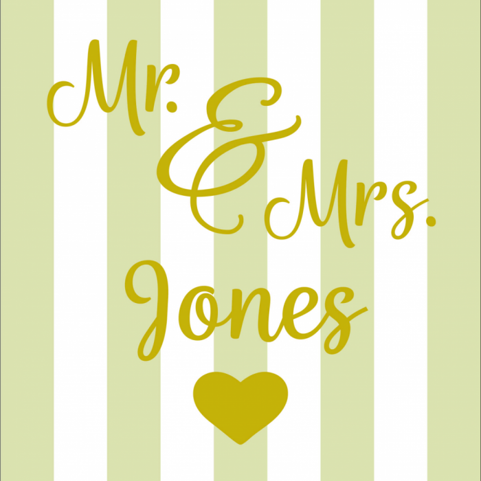 Mr & Mrs Wedding - Customisable - Taupe print for Saunton Giant Deckchair