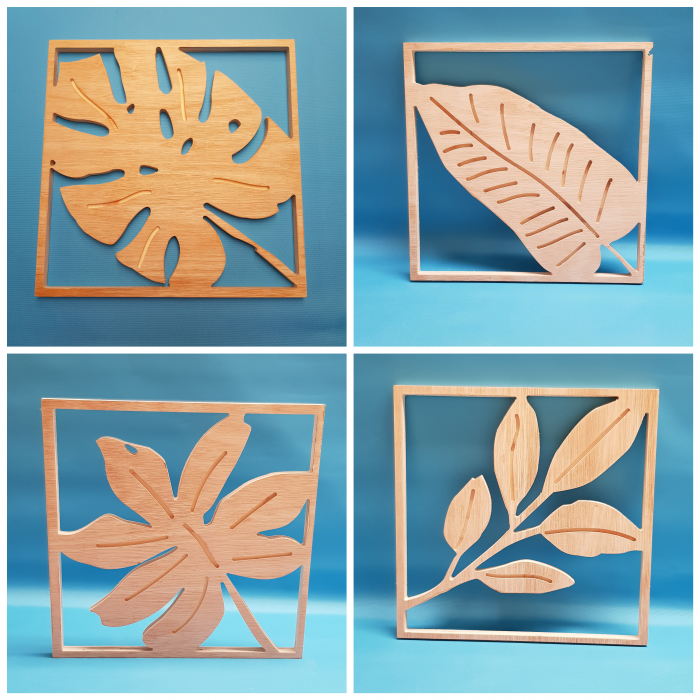 plant leaves cut out of wood